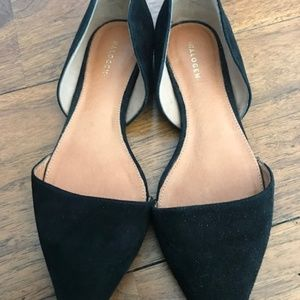 HALOGEN BLACK SUEDE FLAT SHOES
